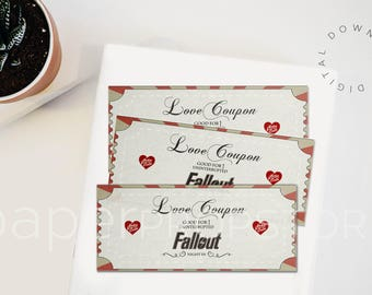Fallout gift, Fallout 4 gift, love coupons for him, geeky valentine gift, fallout 4, geek gift card, geeky gifts for him, videogame gift