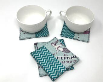 Mermaid Coasters Fabric Coasters  Coaster Set  New Home Gift   New Job Gift for Her   New Job Office Gift   Cubicle Décor   Dorm Decorations
