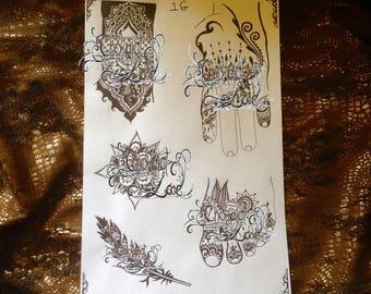 Henna Stencils(1G) Tattoo, Jagua designs, on Vegan, Thermal, Carbon paper(purple) for practice, professionals, wedding, birthday, hen's