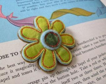 Flower Brooch - Lime Green Batik