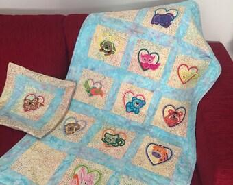 Animals in hearts baby blanket