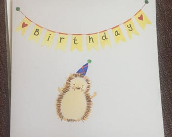Hand painted watercolour hedgehog birthday card