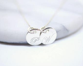 Duo necklace ~ initials ~ silver