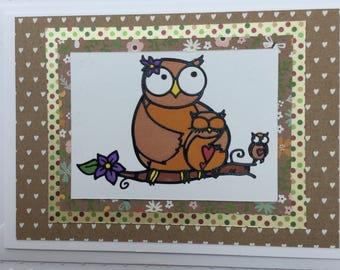 Handmade greetings card, owls