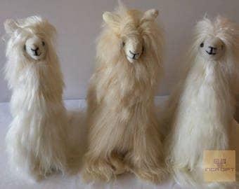 12 IN 11 IN Handmade Alpaca Stuffed Animal Plush Alpaca SURI Fur 13 In /Llama  fur teddy alpaca handmade Peruvian alpaca fur animal toy