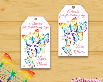 Butterfly Favor Tag, Butterflys Thank You Tags, Digital File