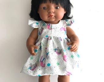 Miniland Doll Dress Set - Stephanie Party Dress - Laura Blythman Unicorn Fabric