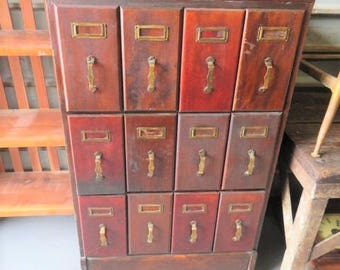 """Antique Vintage Rare Industrial Wood Old Sewing """"Pictorial Review Patterns"""" Vertical File  Filing Cabinet (NOT Free Shipping PICK UP Only)"""
