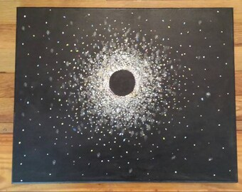 """Constellation Outer Space painting. Galaxy Acrylic on Canvas Painting of a Black Hole in space. 20"""" X 16""""."""