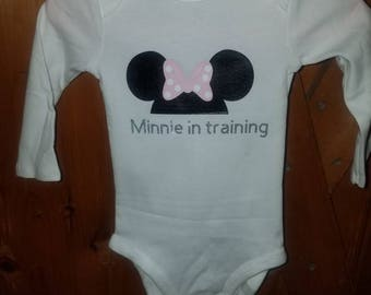 "Disney lovers ""Minnie in traning"" onesie"