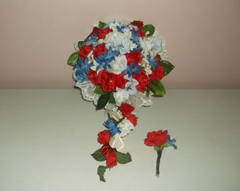 Pre Made Red/White/Blue Bride & Groom Bouquet