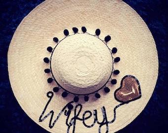 Honeymoon hat, floppy hat customised hat, custom straw hat, personalised hat, custom beach hat, bride hat, kids hats ,sequinned straw hat