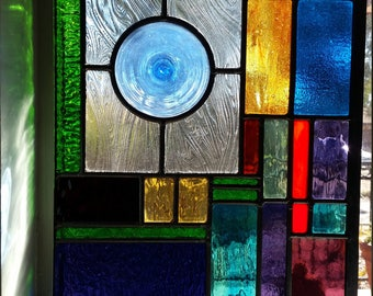 Abstract Leaded Glass Panel