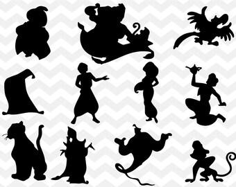 Jasmine silhouette etsy for Aladdin and jasmine on carpet silhouette