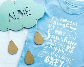 Personalised Cloud/Dream big Cloud and raindrops - Scandi childrens/girls/boys decor/baby gift wooden/accessories