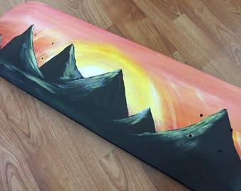Acrylic Landscape on Skateboard