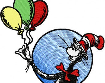 Dr. Seuss Cat in the Hat with Balloons machine embroidery design - INSTANT DOWNLOAD