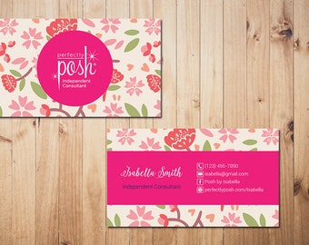 PERSONALIZED Perfectly Posh Business Cards, Perfectly Posh Style Card, Printable Digital Printed, Personalized Cards PH02