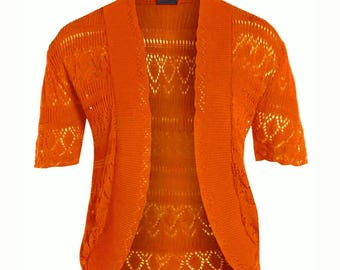 CUTE women's orange cropped half  sleeve knit summer crochet shrugs size 14-16 cheap shrugs
