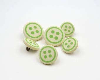 6 Green and Cream Buttons. Sewing Button. Vintage Buttons