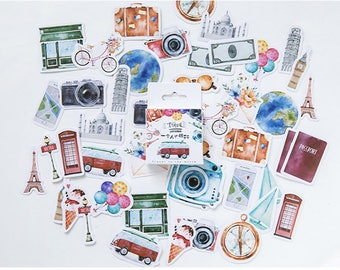 45PCS, Travel Seal Stickers, Travel the World Sticker, Baking Seal, Gift Wrapping, Scrapbooking, Diary Deco