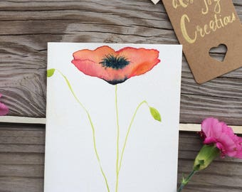 Watercolor poppy series card #4