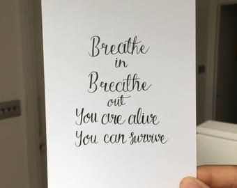 breathe in breathe out   postcard or card