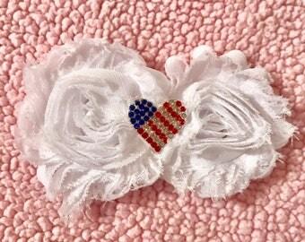 American flag heart hair bow