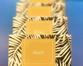 Tropical placecards can be customized by color