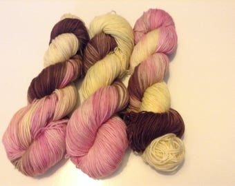 Neapolitan ice cream hand dyed sock yarn