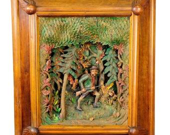 antique black forest carved wood poacher diorama