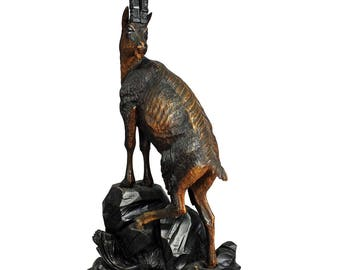 impressive black forest woodcarving ibex sculpture