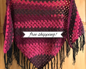 Cherry Chip Fringe Shawl •finished product•