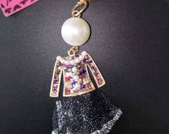 Betsey Johnson unique pearl shiny crystal top and skirt pendant/necklace