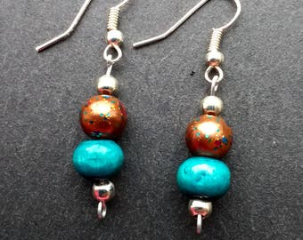 Fun and colorful brown and teal handmade earrings