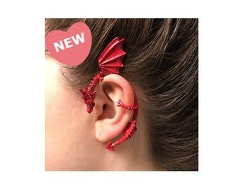 Crimson Red Dragon Ear Cuff