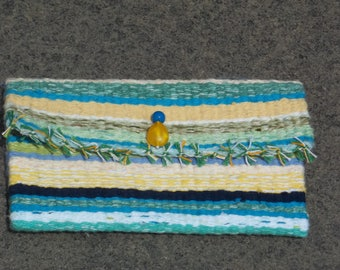 Blue Green Woven Wallet with Decorative Bead