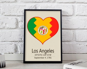 Los Angeles poster Los Angeles art Los Angeles City poster California Los Angeles print wall art Los Angeles wall decor Gift print