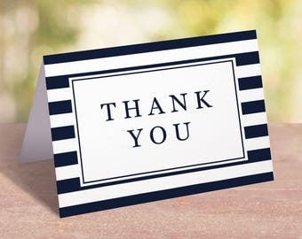 Thank You Cards Printable Baby Shower Thank You Card Template Navy Blue Thank You Note Cards Tented Cards Thank You Notes Modern Card NS1