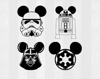Star Wars Mickey SVG Bundle, Star Wars Mickey clipart, cut files, svg files for silhouette, files for cricut, svg, dxf, eps, cuttable design