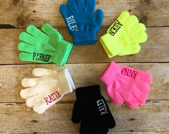 Personalized Kids Winter Gloves, Kid Name Gloves, Custom Child Gloves, Colorful Custom Kid Gloves