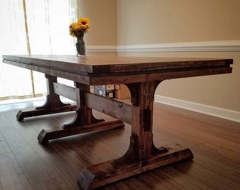 The WoodMiller Triple Pedestal Farmhouse Table