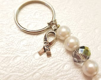 BREAST CANCER Iridescent and Pearl with Hope Cause Awareness Ribbon Keychain