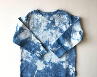 Hand-dyed Indigo Toddler Long Sleeve T-Shirt; Toddler Boy Shirt; Toddler Girl Shirt; Unisex Toddler Shirt