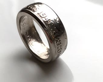 1948 Two Shilling coin ring