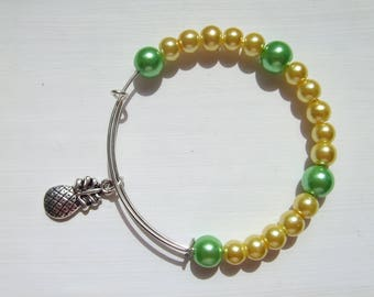 Pineapple charm Czech bead adjustable bracelet