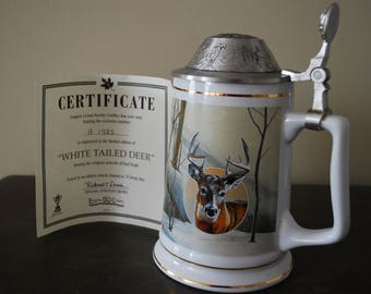 Beer stein-''Longton crown''#A1385,limited edition''White Tailed Deer''has certificate