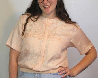 80s PEACHY EMBROIDERED TOP  Crinkly  Cinched  Pockets  Susan Hutton 