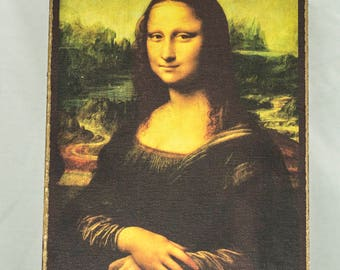 Mona Lisa, print canvas with handmade finishes, Size 24x17x1.3 cm.