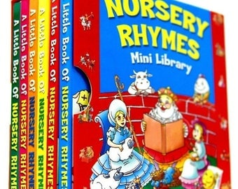 Nursery Rhymes Mini Library Set 6 Board Books Classic Favourites Children Educational Board Book 1932NRML